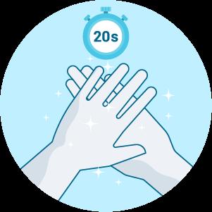 Frottez les mains jusqu'au séchage complet (sans rinçage)